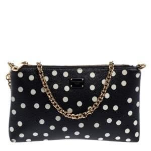 Dolce & Gabbana Black/White Polka Dot Leather Chain Clutch