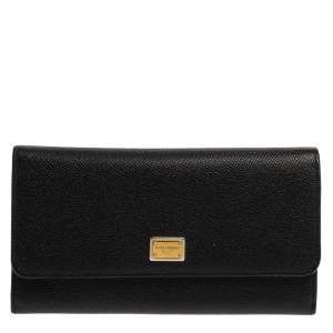 Dolce & Gabbana Black Dauphine Leather Continental Wallet