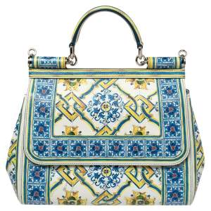 Dolce & Gabbana Multicolor Majolica Print Leather Medium Miss Sicily Top Handle Bag