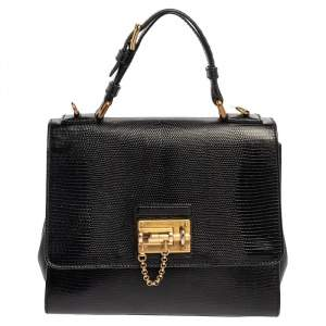Dolce & Gabbana Black Lizard Embossed Leather Medium Miss Monica Top Handle Bag