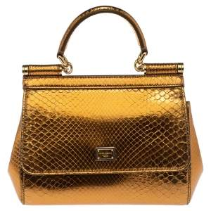 Dolce & Gabbana Metallic Gold Python Small Miss Sicily Top Handle Bag