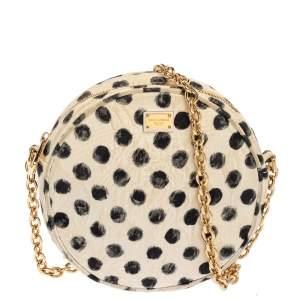 Dolce & Gabbana White Polka Dot Print Fabric Miss Glam Round Shoulder Bag