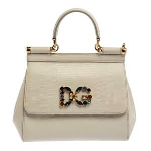 Dolce & Gabbana White Lizard Embossed Leather Small Miss Sicily Top Handle Bag