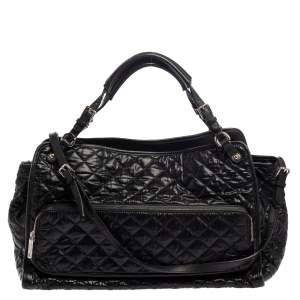 Dolce & Gabbana Black Quilted Nylon Reversible Tote