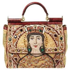Dolce & Gabbana Multicolor Embroidered Fabric and Python Trim Queen Regina Large Sicily Top Handle Bag
