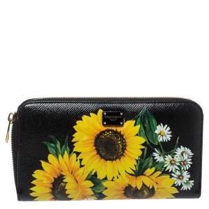 Dolce & Gabbana Black Sunflower Print Leather Zip Around Wallet