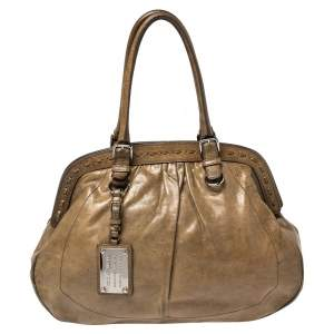 Dolce & Gabbana Brown Leather Miss Romantique Frame Satchel