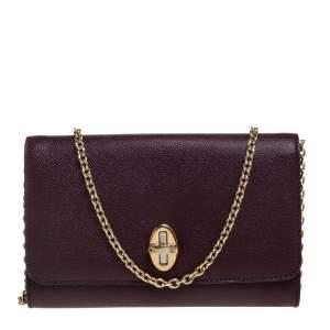 Dolce & Gabbana Burgundy Leather Taormina Chain Clutch