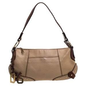 Dolce & Gabbana Beige/Brown Leather Shoulder Bag