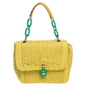 Dolce & Gabbana Yellow/Green Woven Leather Padlock Top Handle Bag