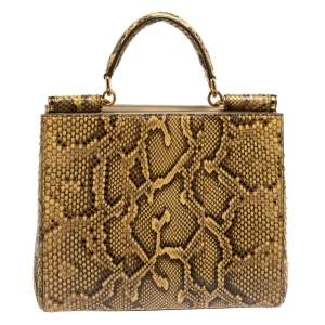 Dolce & Gabbana Brown/Beige Python Sicily Top Handle Bag