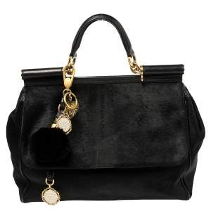 Dolce & Gabbana Black Calf Hair And Leather Large Miss Sicily Top Handle Bag
