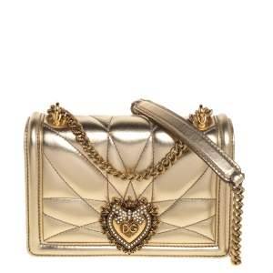 Dolce & Gabbana Metallic Gold Leather Mini Devotion Chain Shoulder Bag