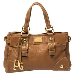 Dolce & Gabbana Brown Grained Leather Tote