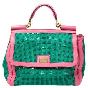 Dolce & Gabbana Green/Pink Woven Raffia and Leather Large Miss Sicily Top Handle Bag