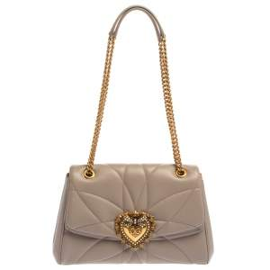 Dolce & Gabbana Beige Quilted Nappa Leather Large Devotion Shoulder Bag
