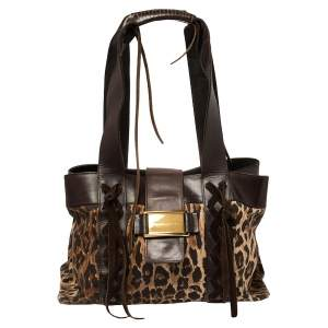 Dolce & Gabbana Beige/Brown Leopard Print Canvas And Leather Tote