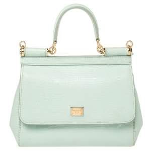 Dolce & Gabbana Green Lizard Embossed Leather Small Miss Sicily Top Handle Bag