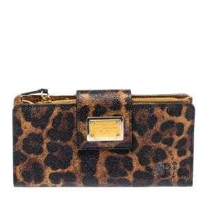 Dolce & Gabbana Brown/Black Leopard Print Coated Canvas Continental Wallet