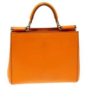 Dolce & Gabbana Orange Dauphine Leather Sicily Shopper Top Handle Bag
