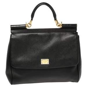 Dolce & Gabbana Black Leather Large Miss Sicily Top Handle Bag