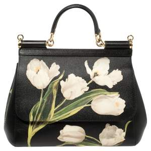 Dolce & Gabbana Black Tulip Print Leather Medium Miss Sicily Top Handle Bag