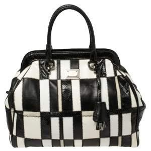 Dolce & Gabbana Black/White Snakeskin and Leather Patchwork Frame Satchel