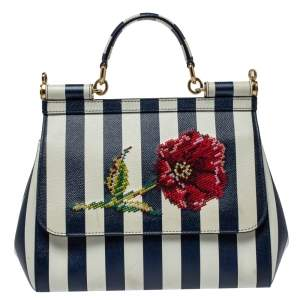 Dolce & Gabbana Blue/White Striped Embroidered Leather Medium Miss Sicily Top Handle Bag