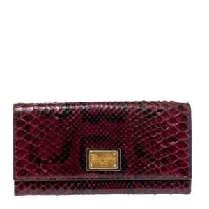 Dolce & Gabbana Burgundy Python Dauphine Continental Wallet