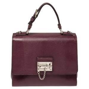 Dolce & Gabbana Burgundy Lizard Embossed Leather Medium Miss Monica Top Handle Bag