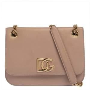 Dolce & Gabbana Beige Leather DG Millennials Shoulder Bag
