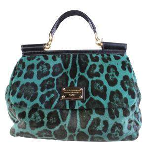 Dolce and Gabbana Green Pony Hair Leopard Sicily Bag
