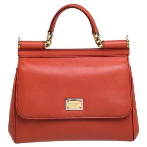 Dolce & Gabbana Orange Leather Medium Miss Sicily Top Handle Bag