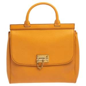Dolce & Gabbana Orange Leather Miss Monica Top Handle Bag