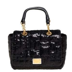 Dolce & Gabbana Black Sequin Small Sicily Top Handle Bag