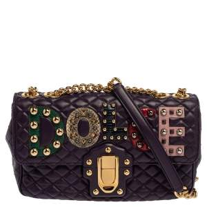 Dolce & Gabbana Purple Quilted Leather Lucia Embellished Shoulder Bag
