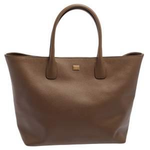 Dolce & Gabbana Brown Leather Shopper Tote