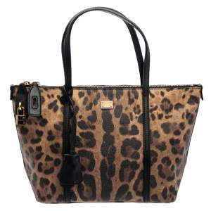 Dolce & Gabbana Brown/Black Animal Print Coated Canvas and Leather Miss Escape Tote