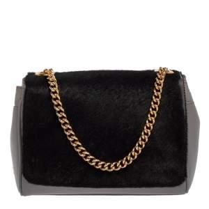 Dolce & Gabbana Grey/Black Leather and Calf Hair Flap Shoulder Bag