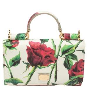 Dolce & Gabbana Multicolor Floral Print Leather Miss Sicily Von Wallet on Chain