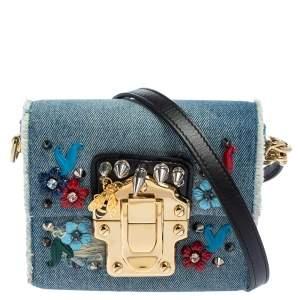 Dolce & Gabbana Blue Embellished Denim Mini Lucia Shoulder Bag
