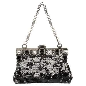 Dolce & Gabbana Black/Silver Sequin Vanda Clutch