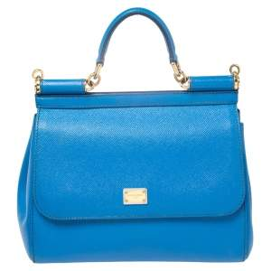 Dolce & Gabbana Blue Leather Medium Miss Sicily Top Handle Bag