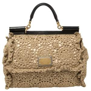 Dolce & Gabbana Gold/Black Metallic Embroidered Fabric and Leather Large Sicily Top Handle Bag