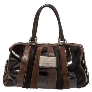 Dolce & Gabbana Dark Brown Leather Miss Brunette Mixed Media Satchel