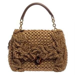 Dolce & Gabbana Tan/Brown Raffia and Leather Padlock Top Handle Bag