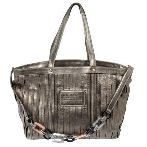 Dolce and Gabbana Metallic Pleated  Leather Miss Bye Bye Tote