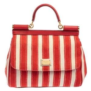 حقيبة دولتشي أند غابانا ميس سيسيلي رافية وجلد أبيض/أحمر متوسطة بيد علوية