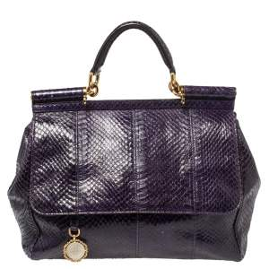Dolce & Gabbana Purple Python Medium Heritage Miss Sicily Top Handle Bag
