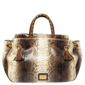 Dolce & Gabbana Brown/Cream Python and Leather Drawstring Tassel Shoulder Bag